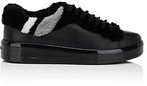 Prada Women's Shearling-Trimmed Leather Sneakers