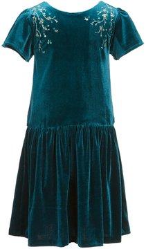 Edgehill Collection Little Girls 4-6X Velour Sequin-Beaded Dress