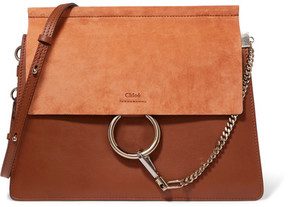 Chloé - Faye Medium Leather And Suede Shoulder Bag - Brown