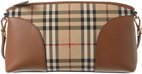 Burberry Horseferry Check & Leather Clutch Bag - BROWN - STYLE