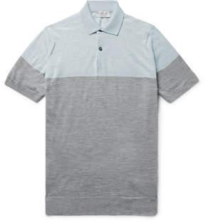John Smedley Toller Two-Tone Wool Polo Shirt