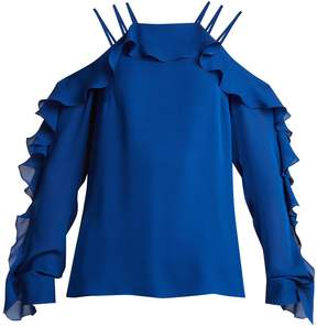 Elie Saab Ruffled-trimmed silk crepe de Chine top