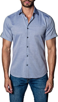 Jared Lang Woven Printed Short Sleeve Trim Fit Shirt