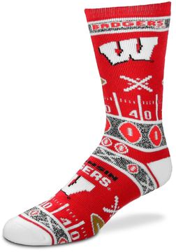 For Bare Feet Adult Wisconsin Badgers Super Fan Crew Socks