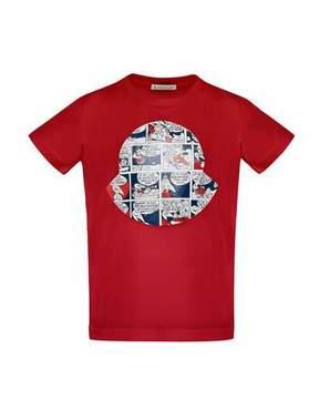 Moncler Maglia Comic-Print T-Shirt, Red, Size 8-14