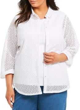 Allison Daley Plus Circle Lace Knit Button Front Shirt
