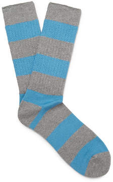 Beams Striped Ribbed-Knit Socks