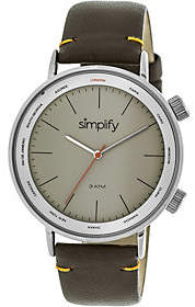 Simplify Brown Leather Strap Watch