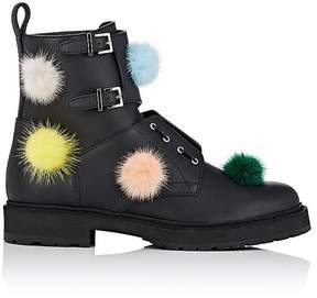 Fendi Women's Mink-Fur-Embellished Leather Combat Boots