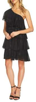 Cece Ruffled One-Shoulder Clipped Jacquard Dress