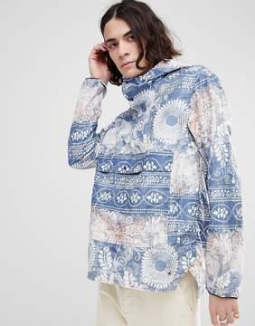 Herschel Voyage Packable Overhead Anorak with Batik Print in Blue