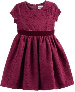 Nannette Toddler Girl Lace & Velvet Dress