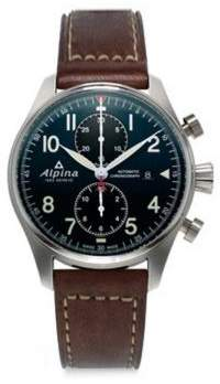 Alpina Sapphire Crystal Leather Strap Watch