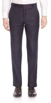 Hickey Freeman Flat-Front Wool Trousers
