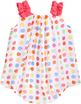 First Impressions Dot-Print Chiffon Bubble Romper, Baby Girls, Created for Macy's