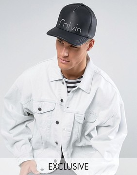 Calvin Klein Cap in Faux Leather Exclusive to ASOS