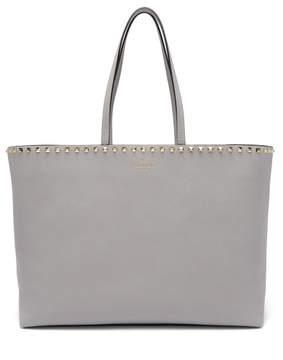 Valentino Rockstud Leather Tote Bag - Womens - Light Grey