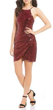 B. Darlin Sequin Draped Sheath Dress