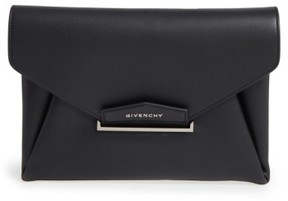 Givenchy 'Medium Antigona' Leather Envelope Clutch - Black