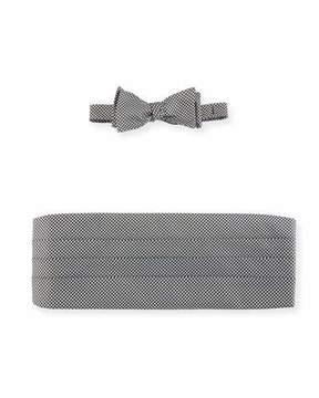 Neiman Marcus Houndstooth Silk Bow Tie & Cummerbund Set