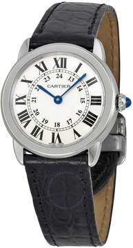 Cartier Ronde Solo Steel Black Leather Ladies Watch