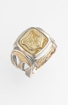 Konstantino Men's 'Byzantium' Two-Tone Rectangle Shield Ring