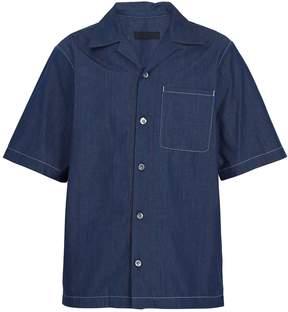 Prada Point-collar cotton-chambray bowling shirt