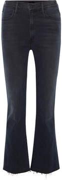 Mother Hustler Cropped Frayed High-rise Flared Jeans - Dark denim