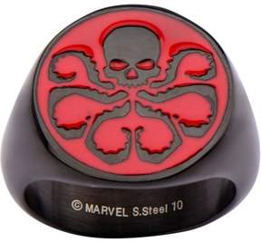 Marvel Men's Stainless Steel Black Ion Plated and Red Hydra Logo Ring
