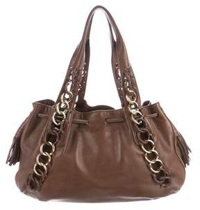 Michael Kors Leather Drawstring Shoulder Bag - BROWN - STYLE