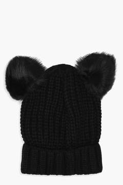 boohoo Kate Double Faux Fur Pom Ribbed Beanie