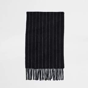 River Island Mens Dark grey chalk stripe scarf