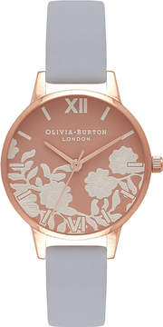 Olivia Burton OB16MV71 Lace-detail rose gold-plated and leather watch