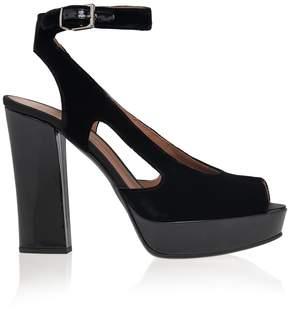 Emporio Armani Open Toe Velvet Heels