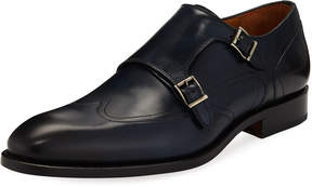 Magnanni Hand-Antiqued Calf Monk Dress Shoe, Blue