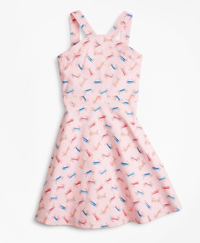 Brooks Brothers Cotton Tossed Candy Print Dress