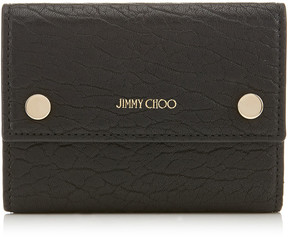 Jimmy Choo LOUISA Black Grainy Leather Wallet