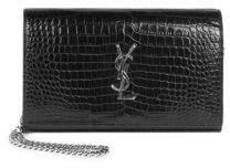 Saint Laurent Silvertone Stamped Crocodile Wallet On Chain - NOIR - STYLE