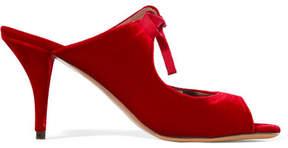 Tabitha Simmons Helene Cutout Velvet Mules - Red