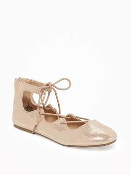 Old Navy Metallic Lace-Up Ballet Flats for Girls