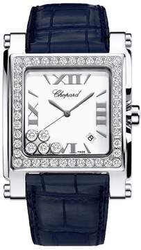 Chopard Happy Sport Square Mother of Pearl Dial Blue Leather Ladies Watch