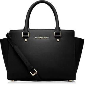 MICHAEL Michael Kors Selma Medium Top Zip Satchel - BLACK/GOLD - STYLE