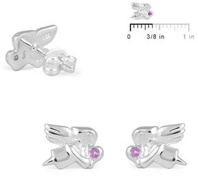 Ice Sterling Silver Angel Stud Earrings for Girls