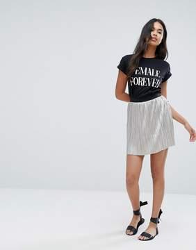 Brave Soul Silver Plisse Mini Skirt