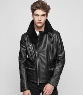 Reiss Axel Shearling Collar Biker Jacket