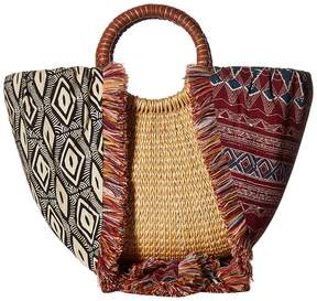 Sam Edelman Adira Straw Basket w/ Shoulder Scarf Strap Handbags
