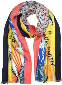 Paul Smith Yellow Mackerel Print Silk Blend Reversible Men's Tubular Scarf