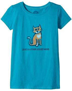 Life is Good Four Legged Word Cat Crusher Tee Girl's T Shirt