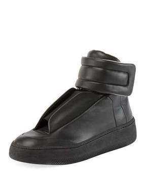 Maison Margiela Men's Future Leather Redux High-Top Sneakers, Black