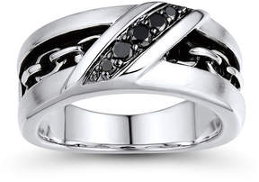 Black Diamond FINE JEWELRY Mens 1/4 CT. T.W. Color-Enhanced and Inlaid Chain-Link Ring